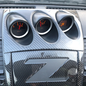 Image 3 - For Nissan 350Z Z33 2003 2009 Central tilt meter Frame Carbon Sticker Radio Air Console Panel Cover Modified Decor Accessories