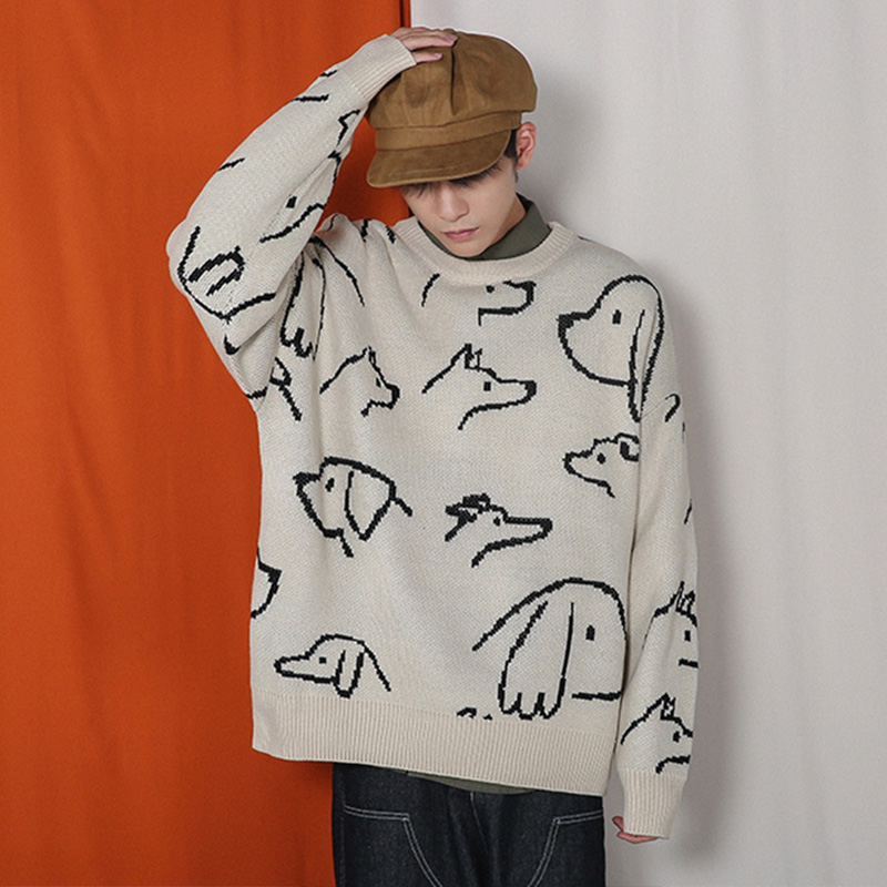 Dark Icon Retro Oversized Sweater Men Pullover Loose Knitted Men's Sweater Streetwear Clothing Men Winter Sweater