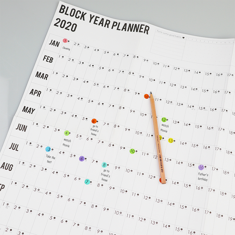 2021 Wall Calendar Year Planner Daily Plan Paper with 2 Sheet Mark Stickers for Office School Home office supply 6