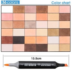Image 5 - FINECOLOUR 12/24/36 kolor skóry kolor mazak zestaw podwójna głowica na bazie alkoholu szkic Marker dla Cartoon projekt Anime dostaw