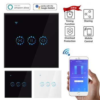 EU Smart Home WiFi Electric Touch Blinds Curtain Switch TUYA APP Voice Control By Alexa Echo Sunflower Graffiti Curtain Switch