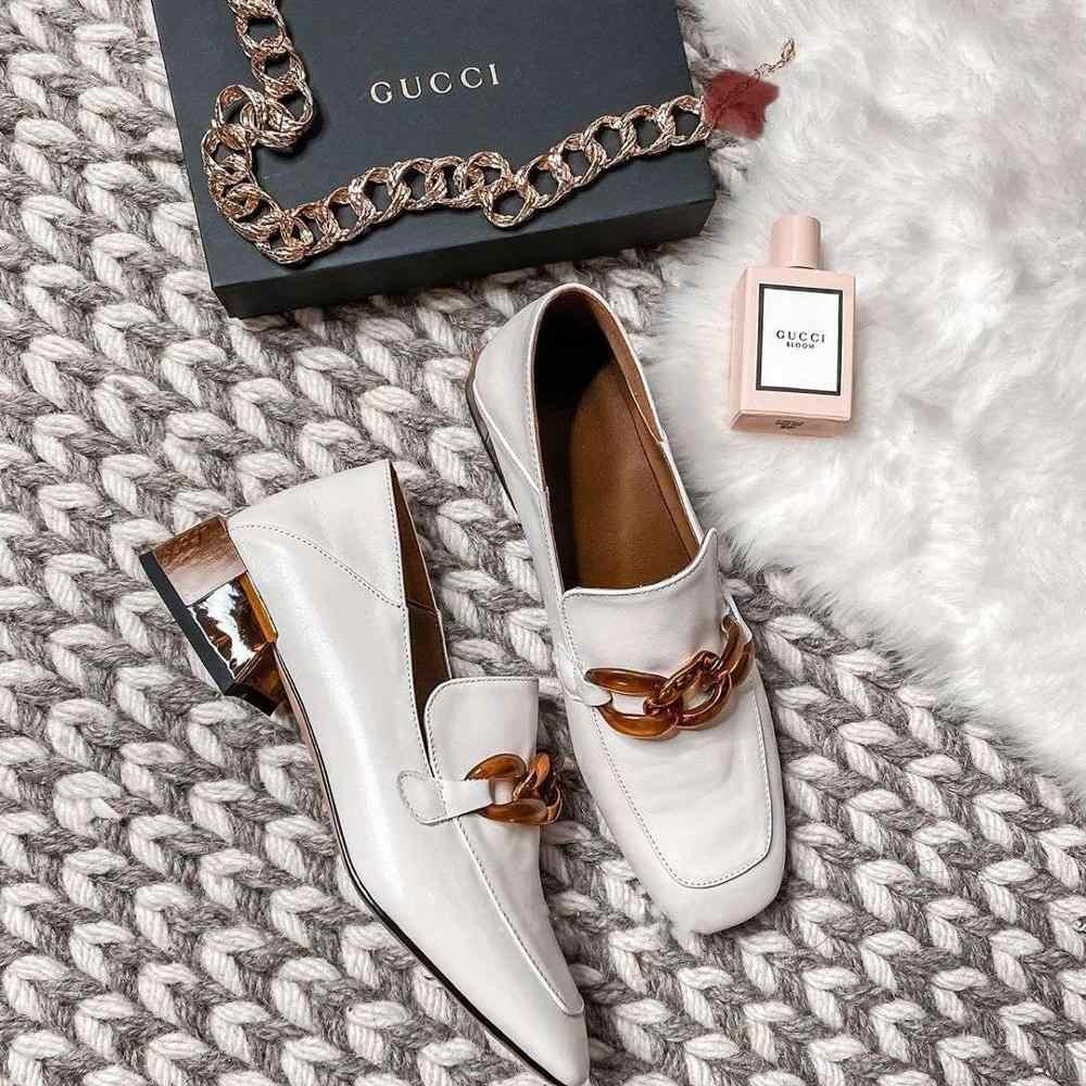 Meotina yüksek topuklu kadın pompaları doğal hakiki deri kalın topuk loafer ayakkabılar gerçek deri kare ayak ayakkabı bayanlar boyutu 33-40