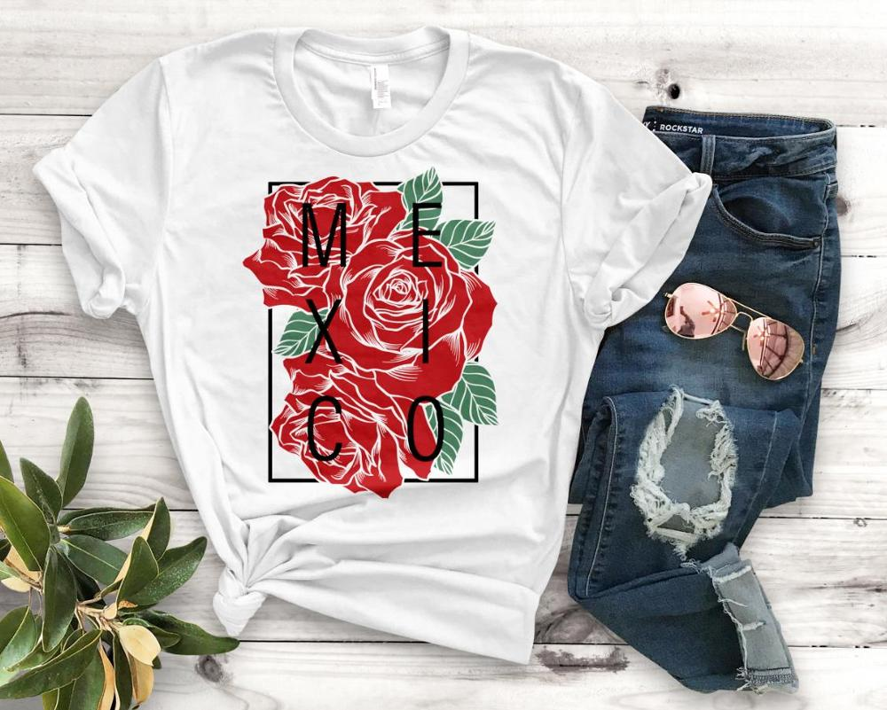 Mexico With Roses Latina Print Women Tshirt Cotton Casual Funny T Shirt Gift For Lady Yong Girl Top Tee PM-106