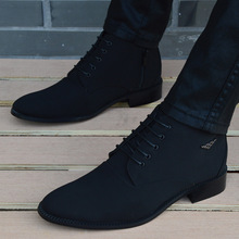 Boots Men Shoes Business Pointed-Toe Winter Men Hombre Casual Canvas High-Top Breathable