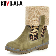 Kiiyilala New Turned-over Plush Lapel Snow Boots Women Waterproof Leopard Round Toe Woman Winter Flat Heel Ankle