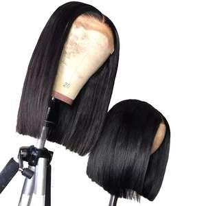 Image 1 - 4x4 Straight Bob Lace Closure Wigs 4x4 Lace Wigs Brazilian Remy Hair Glueless Short Bob Wigs Human Hair Wigs For Women Ariel