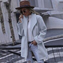 Inverno sólido elegante mistura de lã moda feminina casacos longos vintage minimalista lã casaco camelo oversize outwear