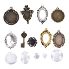 QrhYK 10pcs Cabochon Base Pendant Setting Trays DIY Blank Jewelry Bezels Antique Glass Cover DIY Jewelry Making Lot(China)