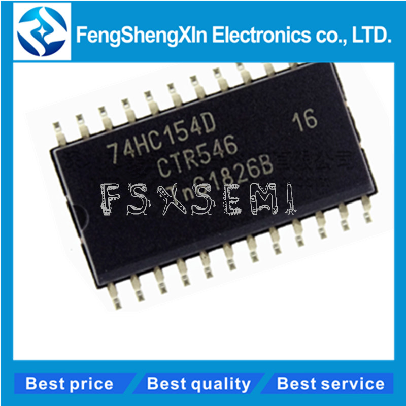 10pcs/lot 100% New original 74HC154D,653 <font><b>74HC154</b></font> SOP-24 4-to-16 line decoder/demultiplexer IC image