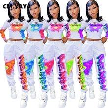 CM.YAYA główna ulica list drukuj garnitur damski bluzy topy spodnie do biegania dwuczęściowy zestaw Sweatsuit pasujący zestaw Fitness stroje