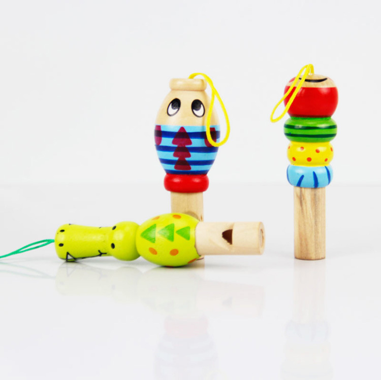 CHILDREN'S Toy Cartoon Small Wooden Educational Toy Animals Whistle Mainland China Can Hang