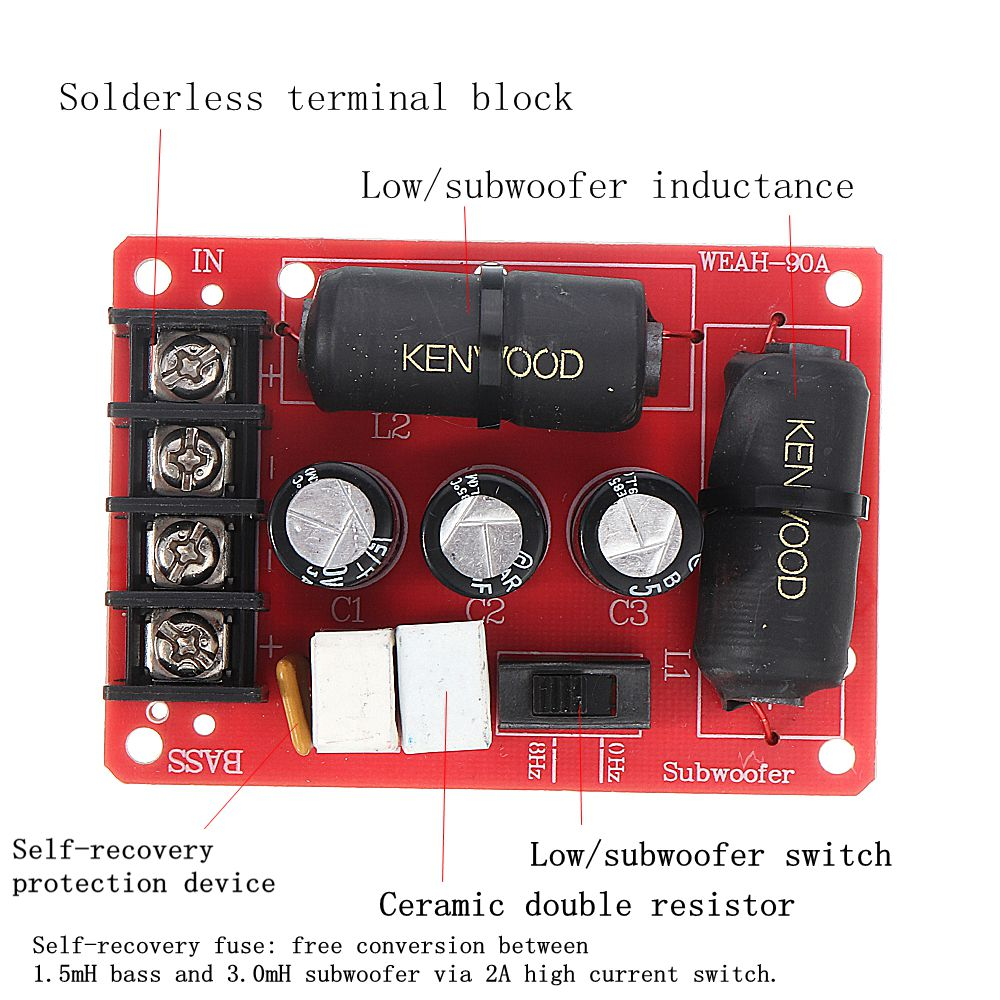 DIY 200W Audio Speaker Frequency Divider Module Subwoofer Crossover Solderless Bass Frequency Divider Module Speaker Accessories