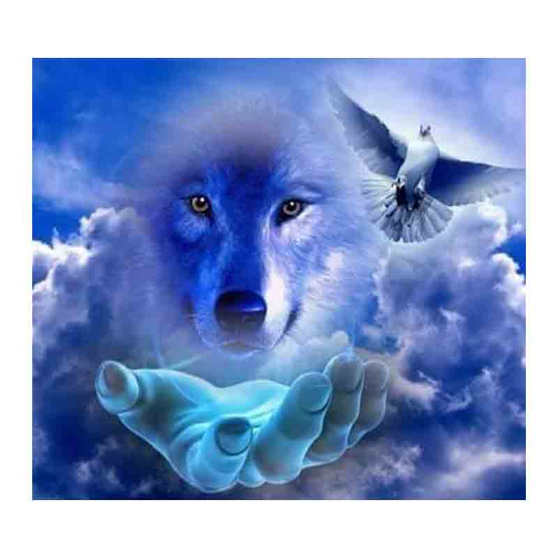 Resin FULL DIY Diamond Painting Cartoon Blue Wolf Fairy Images Cross Stitch Mosaic Gifts For Kids Diamond Embroidery