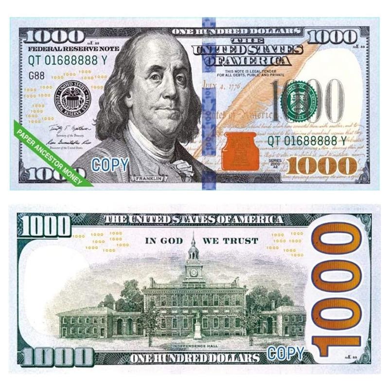 Billetes de banco del cielo de papel, 400 Uds., moneda, ancestro, dólar (US.1000) Feng Shui, recuerdo de cumpleaños, buena suerte
