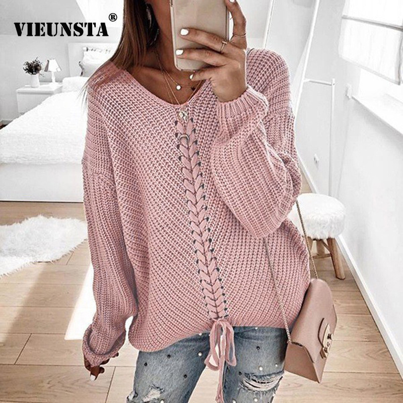 VIEUNSTA 3XL Sexy V-neck Lace-up Knitted Sweater Plus Size Long Sleeve Solid Women Pullover Autumn Winter Casual Sweaters Jumper