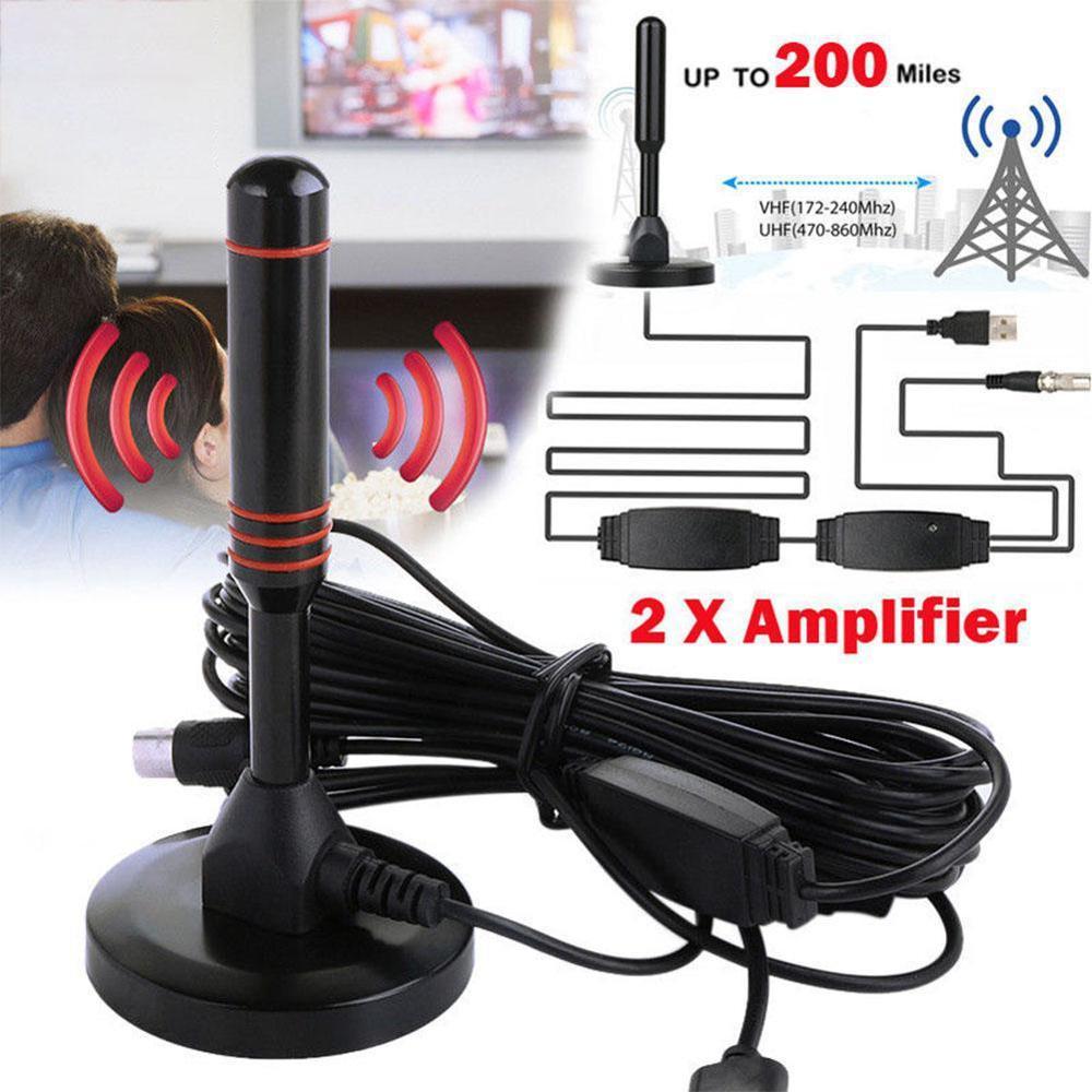 Hd antena amplificada interna da tevê de digitas 200 milhas ultra hdtv com amplificador vhf/uhf resposta rápida ao ar livre interno hd conjunto