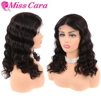 Miss Cara 8-14inches Short Bob Wigs Human Hair Lace Front Wigs Remy Malaysian Deep Wave Wig Pre Plucked Hairline For Black Women
