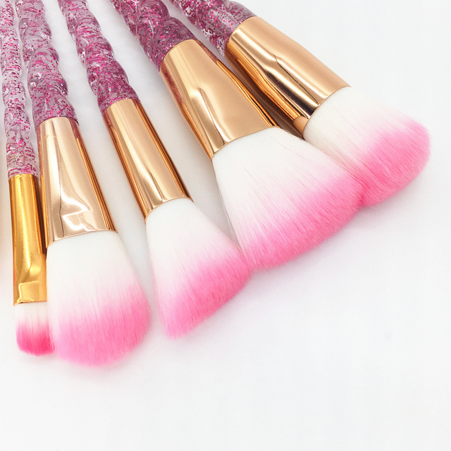 10pcs Unicorn Makeup Brushes Set Diamond Crystal Handle Blending Foundation Powder Eyeshadow Eyebrow Brush Beauty Make Up Tools 3