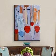 Абстрактная фигурка живопись людей с Красной губной помадой