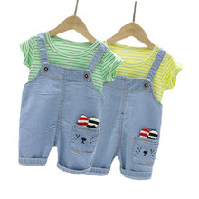 T-Shirt New Born Overalls Baby Striped Summer Casual O-Neck for And 2pcs-Sets