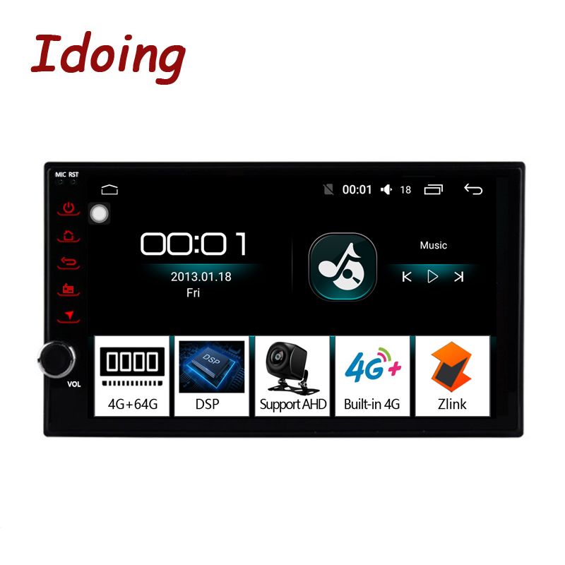 Idoing 72Din Car Multimedia Player Android Car For universal car radio player 4G+64G 2.5D IPS Built-in 4G Modem Bluetooth 5.0 image