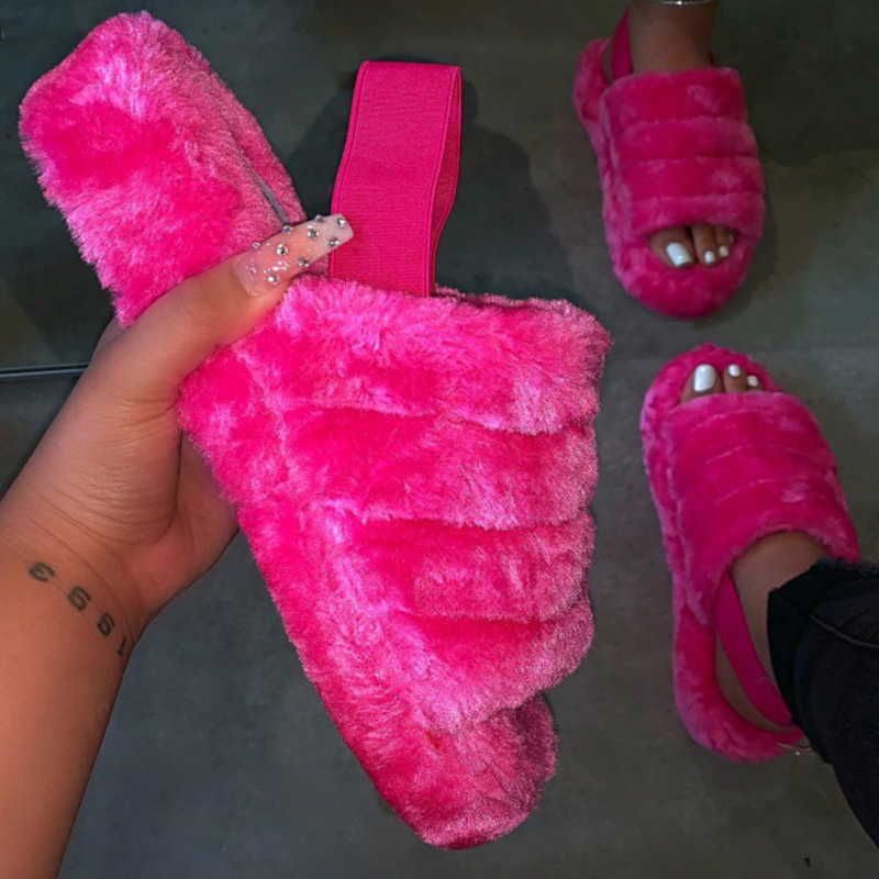 Spring Plush Slippers Women Indoor Fur Slides Bottom Antiskid Furry Slippers Ladies Fashion Fur Slippers Pantuflas De Mujer