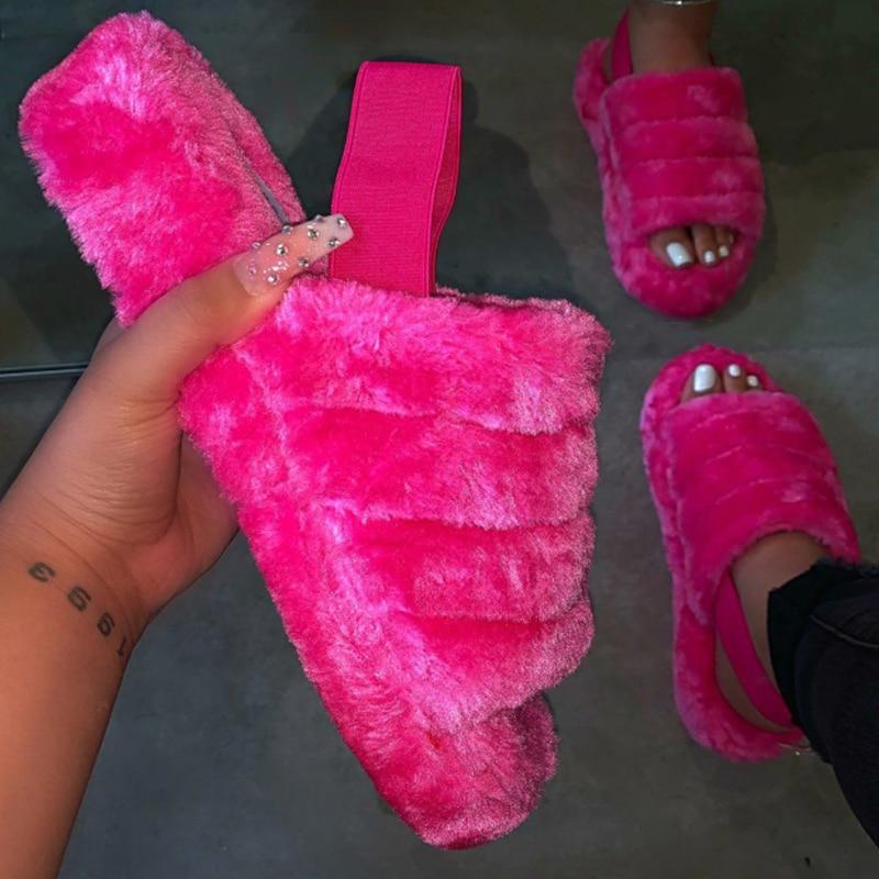 Spring Plush Slippers Women Indoor Fur Slides Bottom Antiskid Furry Slippers Ladies Fashion Fur Slippers Pantuflas De Mujer