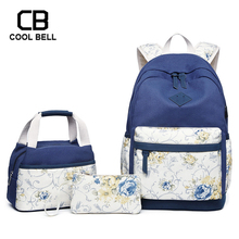 3pcs/set Flower Backpack Purses And Handbags Women Bag Waterproof School Bags For Girls Sports Travel
