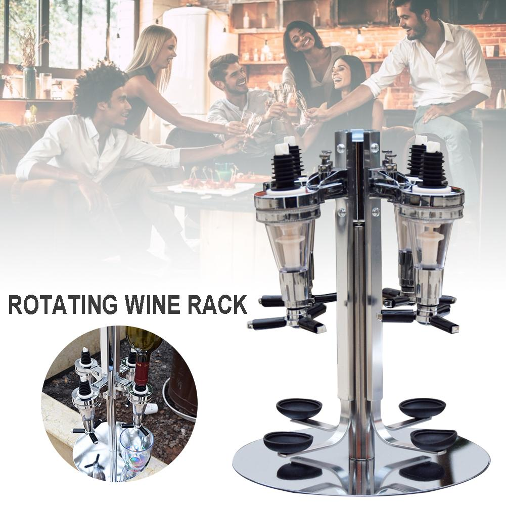 4 Head Professional Desktop Rotary Racks Wine Beer Soda Coke Fizzy Soda Dispenser Liquor Bar Butler Wine Dispenser Bar Tools