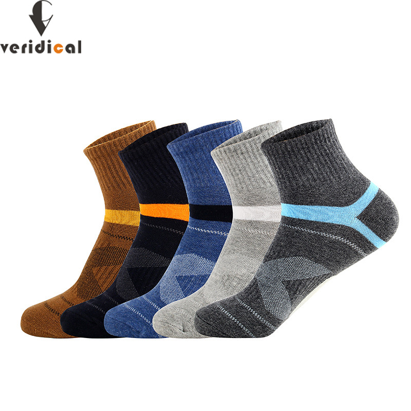 VERIDICAL 5 Pairs/lot Cotton Man Socks Compression Breathable Socks Boy Contrast Color Meias Sox Sheer Work Socks Good Quality