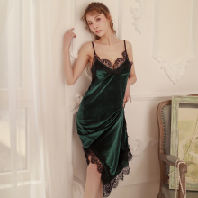 Autumn winter gold velvet sexy girls V-neck lace straps nightdress slits open back long home dress sleepwear 5 colors