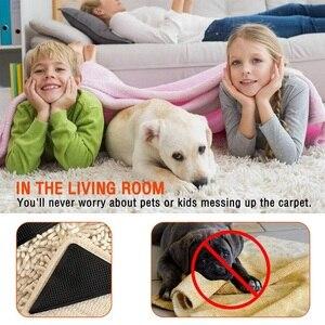 Image 4 - 4 sztuk/zestaw wielokrotnego użytku zmywalny dywan mata dywanowa chwytaki antypoślizgowe silikonowe maty do kąpieli Grip Protect dla domu do łazienki do pokoju gościnnego pokój