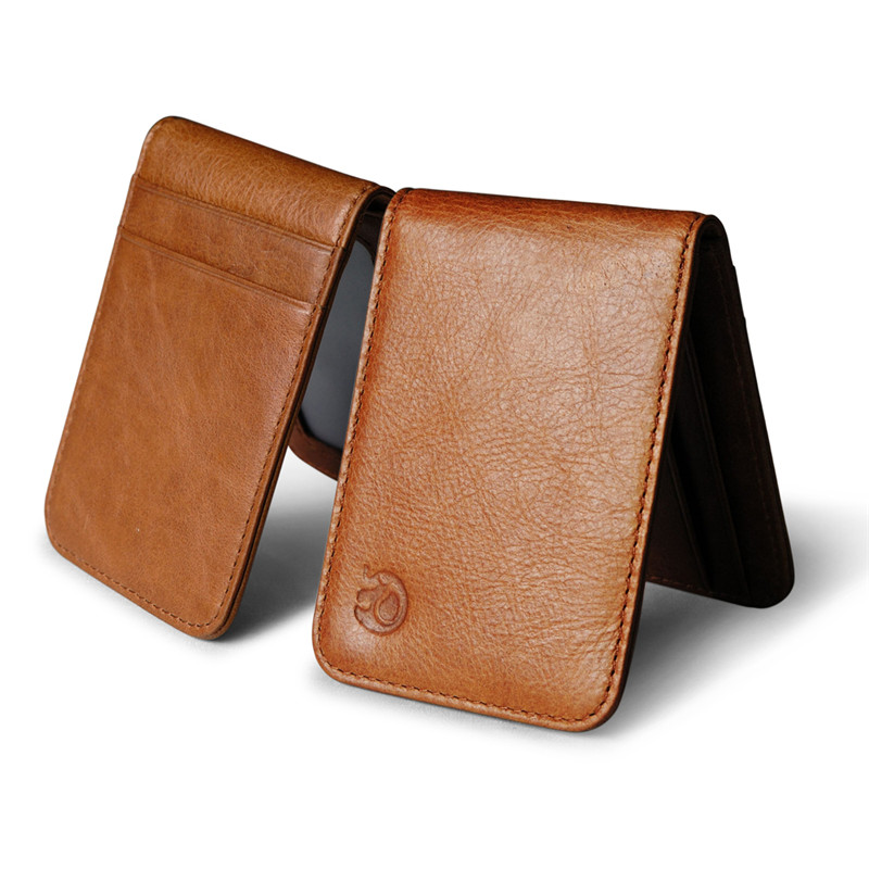2019 Fashion Sale Mini Genuine  Leather Money Clip Wallet For Women With Credit Card Slots Slim Men Purse With Metal Clamp