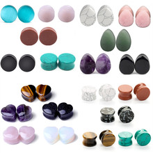 10PC Stone Ear Gauge Set 6-20mm Heart Stone Flesh Tunnel Plug Lot Reamer Tunnel Ear Plugs Set Ear Stretcher Plug Saddle Expander 2x 316l surgical steel ear flesh tunnel plugs anodized without thread double flared hollow screw ear expander gauge body jewelry