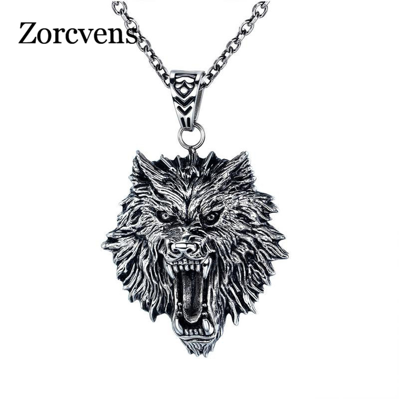 ZORCVENS 316L stainless steel hot sell wolf men necklace Punk Vintage wolf head pendant Necklace Fashion Jewelry