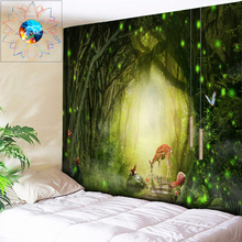 Romantic Psychedelic Forest Tapestry Tree Hole Elk Decorative Wall Hanging Bohemian Hippie Mandala Wallpaper Art