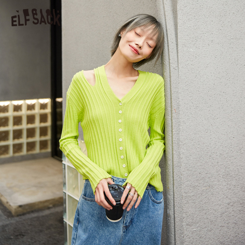 SAM'S TREE Green Solid Hollow Out Jersey Pullovers Skinny Women Sweaters 2020 Spring Pure Single Button Casual Ladies Daily Top