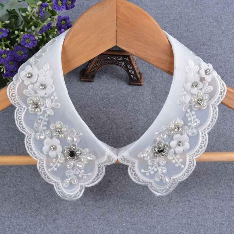 Женская мода имитация жемчуга поддельный съемный воротник двойной сетки подвеска лацкан A69C