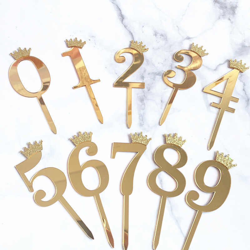 Super 0 9 Numbers Cake Toppers Happy Birthday Cute Crown Number Cake Funny Birthday Cards Online Fluifree Goldxyz
