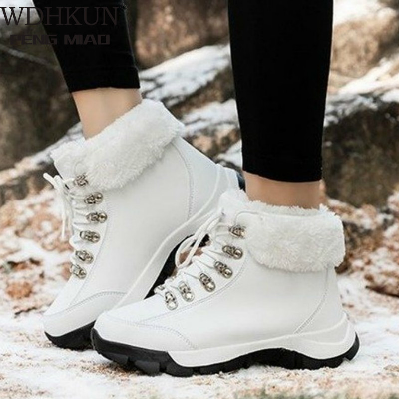 Warm snow boots Cotton Boots Female Winter Autumn and Winter Sneakers Women Outdoor Climbing Boots Motion Cotton-Padded Shoes