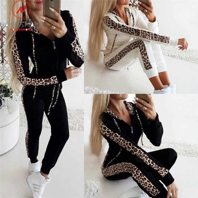 Kadın sonbahar 2 parça kıyafetler Streetwear için leopar Patchwork tasarım Hoodies dekor ince fermuar üst + elastik bel kalem pantolon