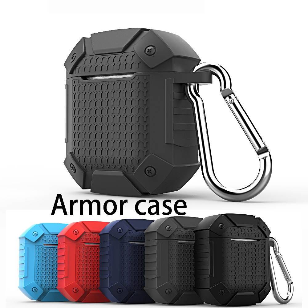 For AirPods Case Luxury Shockproof Armor Case Wireless Bluetooth Earphone Case Silicon Cover For Air Pods 2 Charging Box Fundas