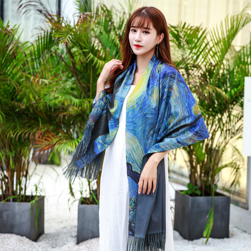 New Ethnic Style Women's Autumn Winter Tassel Shawl Oil Painting Cloak Fashion Dual-use Warm Female шарф Temperament Retro Scarf