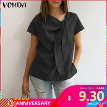 VONDA Women Blouses Shirts 2020 Summer Vintage O Neck Short