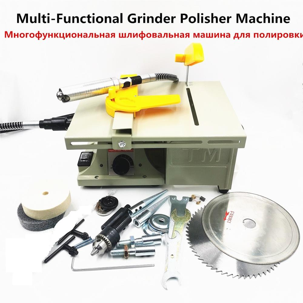 Multifunction Mini Table Saw Stone Polisher Jade Engraving Machine Grinding Polishing Machine Jade Cutting Machine 220V
