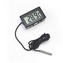 Termómetro Digital LCD para baño, temperatura del agua, nevera, refrigeradores, Mini 1M, sonda negra