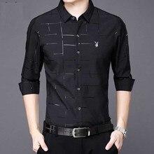 Весна и осень, Мужская Новая тонкая рубашка с длинным рукавом для мужчин, Корейская трендовая Мужская Повседневная рубашка, деловая, с принтом, черная, белая