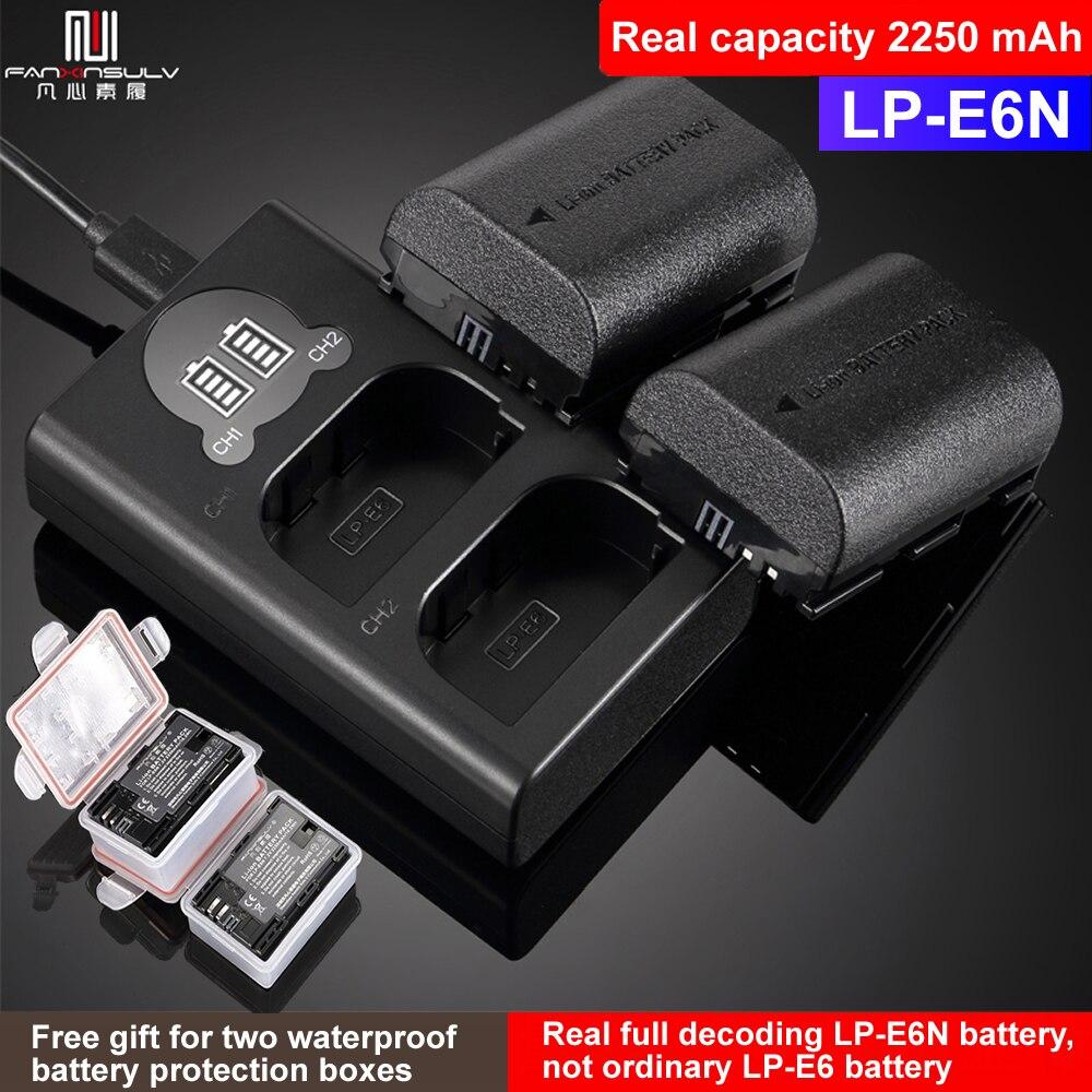 2pc LP-E6N LP-E6 LP E6 batterie + LCD USB double chargeur pour Canon EOS R 6D II 7D II 5D Mark II III IV 60D 60Da 70D 80D 5DS 5DSR