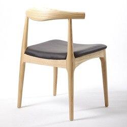 Silla con cuernos de buey silla esqueleto de madera del norte de Europa silla tema restaurante Silla de comedor de madera sólida cera blanca silla con cuernos de buey de madera