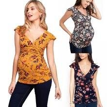 Mulheres gravidez roupas nusring superior maternidade tops v-neck manga curta camisa impressa blusa floral amamentação camisas